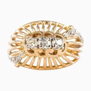 Französischer Ring aus Domen und Ring aus 18 Karat Gelbgold mit goldenem Gewinde, 1960er