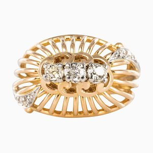 French Diamond and 18 Karat Yellow Gold Thread Dome Ring, 1960s