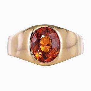 French 3.50 Carat Spessartite Garnet and 18 Karat White Gold Ring