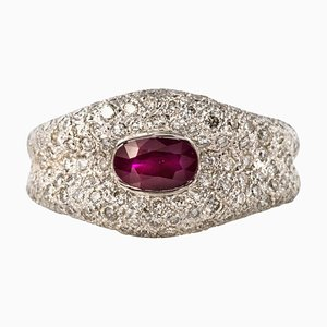 Ruby and Diamond 18 Carat White Gold Band Ring