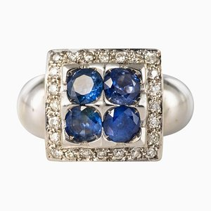 Sapphire Diamond and White Gold Square Ring
