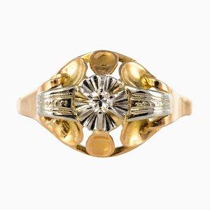 Diamond and 18 Karat Yellow Gold Ring, 1940s