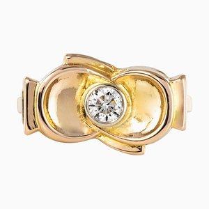 Diamond and 18 Karat Yellow Gold Knot Ring, 1950s