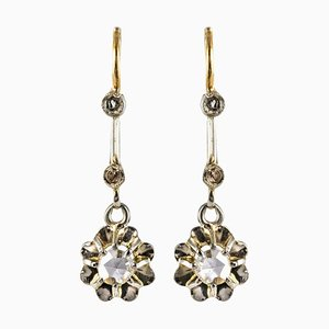 Französischer Rosenschliff-Diamant und 18 Karat Gelbgold Ohrhänger, 1900er, Set aus Nan