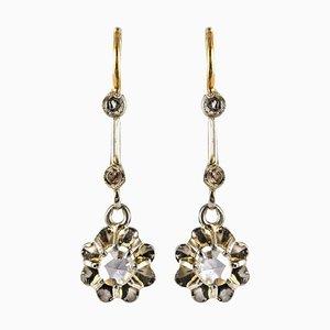 French Rose Cut Diamond and 18 Karat Yellow Gold Dangle Earrings, 1900s, Set of Nan
