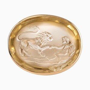 14.30 Carat Quartz Cameo and 18 Karat Rose Gold Unisex Ring