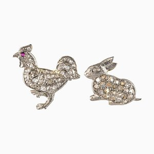 20th Century Rabbit and Rooster Diamonds Stud Earrings, Set of 2