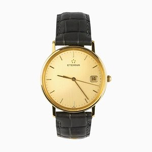 Etrena 18 Karat Yellow Gold and Leather Watch, 1960s