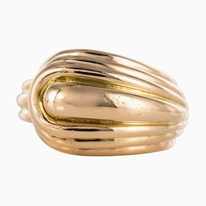 Asymmetric 18 Karat Yellow Gold Tank Ring, 1940s