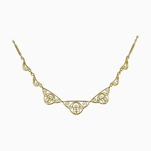 20th Century 18 Karat Yellow Gold Filigree Collar Necklace