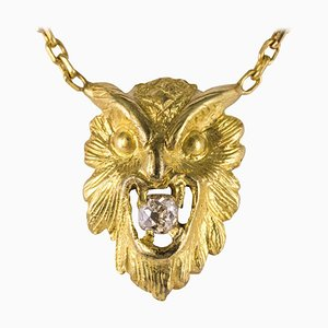 French 19th Century Diamond and 18 Karat Yellow Gold Owl Pendant