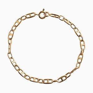 18 Karat Yellow Gold and Navy Link Curb Bracelet