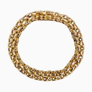 Französisches Gemeißeltes 18 Karat Gelbgoldarmband aus 19. Jhdt