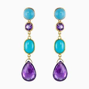 Amethyst Turquoise Gold Drop Earrings, Set of 2