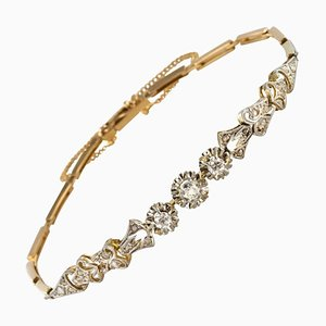Floral Pattern Diamonds Link Bracelet, 1910s