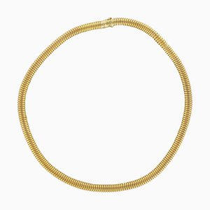 French 18 Karats Yellow Gold Tubogas Necklace, 1950s