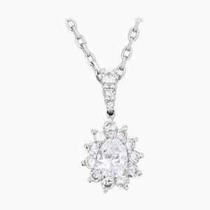 Diamond and 18 Karat White Gold Marquise Pendant