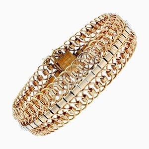 18 Karat Yellow Gold Articulated Mesh Bracelet, 1950s