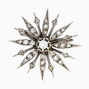 French 19th Century Diamonds and 18 Karat Yellow Gold Silver Snowflake Brooch