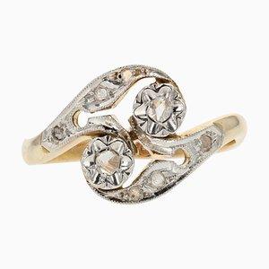 French Diamonds and 18 Karat Yellow White Gold Ring, 1920s
