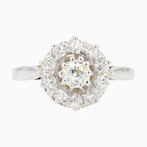 French Diamonds and 18 Karat White Gold Daisy Ring, 1950s