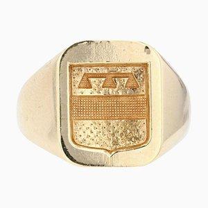 18 Karat Yellow Gold Armored Signet Ring, 1950s