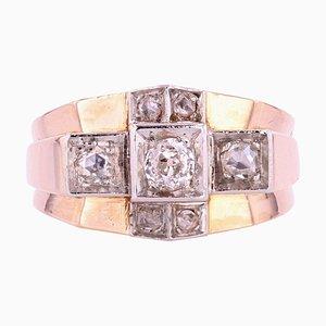 Diamonds 18 Karat Rose Gold Bridge Tank Ring, 1940s