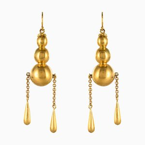 Italian Pearls Drops of Gold Dangle Earrings, 1900s, Set of 2