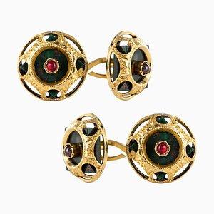 19th Century Blood Jasper Ruby and 18 Karat Yellow Gold Cufflinks, Set of 2