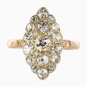 Antique 1.80 Carat Diamonds and 18 Karat Yellow White Gold Marquise Ring