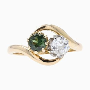 Green Sapphire, Diamond and 18 Karat Yellow Gold You and Me Ring, 1900s