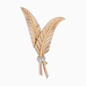 French Diamonds and 18 Karat Yellow Gold Fern Leaves Brooch, 1950s