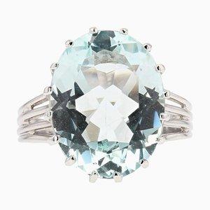 French 6.95 Carat Aquamarine Diamond and 18 Karat White Gold Ring, 1950s