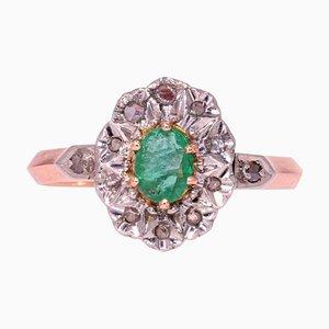 19th Century Emerald, Diamonds and 18 Karat Rose Gold Pompadour Ring