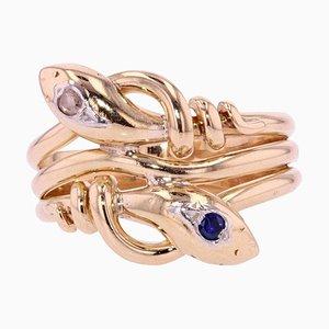 French 19th Century Sapphire, Diamond and 18 Karat Yellow Gold Snake Mens Ring