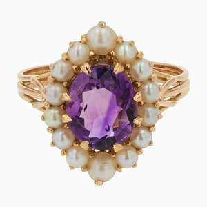 French Amethyst, Cultured Pearls and 18 Karat Yellow Gold Ring, 1960s