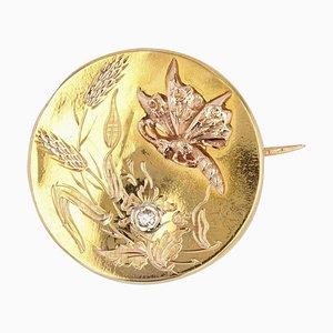 Spilla a farfalla con diamante a forma di farfalla e oro rosa, inizio XX secolo