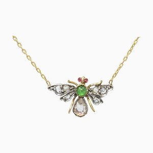 19th Century Emerald, Ruby, Diamonds and 18 Karat Yellow Gold Necklace