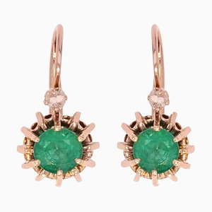 19th Century Emerald, Diamond and 18 Karat Rose Gold Lever Back Earrings, Set of 2