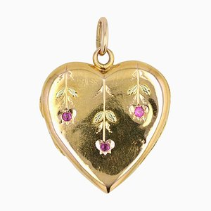 Ruby and 18 Karat Yellow Gold Heart Pendant, 1900s