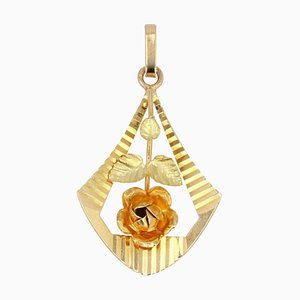 French 18 Karat Yellow Gold Rose Pendant, 1900s