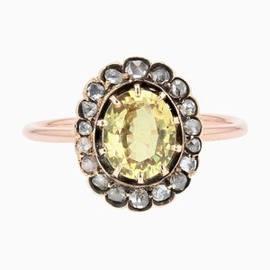 19th Century Yellow Sapphire, Diamonds and 18 Karat Rose Gold Ring