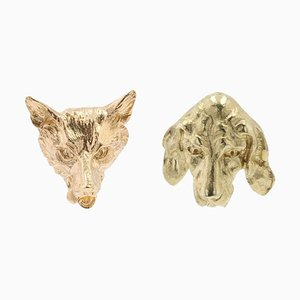 19th Century 18 Karat Yellow Gold Fox and Dog Stud Earrings, Set of 2