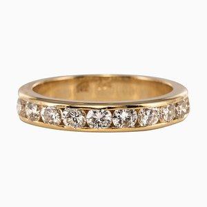 0.80 Carat Diamonds and 14 Karat Yellow Gold Half Wedding Ring