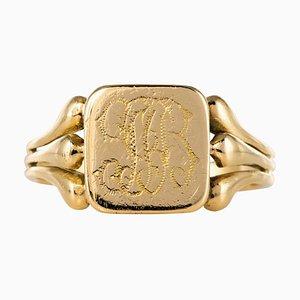 French 20th Century 18 Karat Yellow Gold Engraved Signet Ring