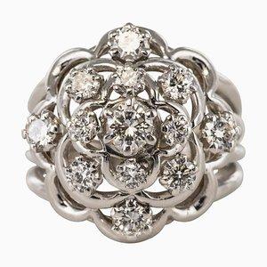 French 1.10 Carat Diamonds and 18 Karat White Gold Ring, 1950s