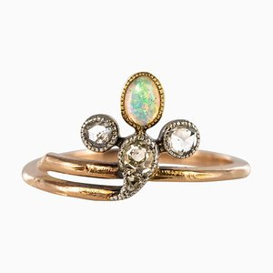 19th Century Opal, Diamonds and 18 Karat Rose Gold Ring