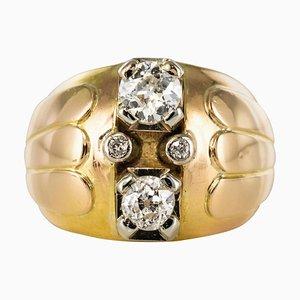 French Duo Diamonds and 18 Karat Yellow Gold Ball Ring, 1940s