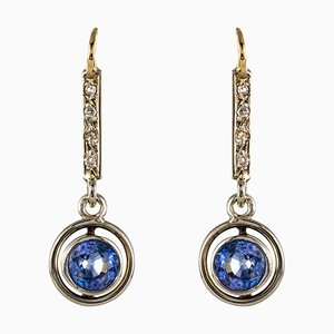 French 1.16 Carat Sapphire, Diamonds and 18 Karat Yellow Gold Earrings, 1920s, Set of 2