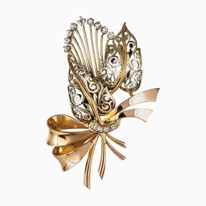 French Floral Bouquet Diamond and 2 Gold Brooch, Retro